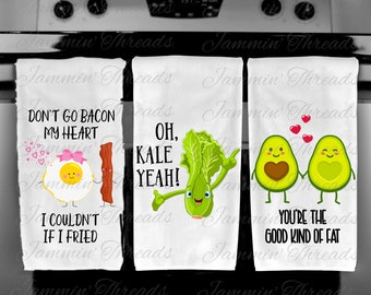 Funny Kitchen Towels/Valentines Day/Bacon/Avocado/Kale/Funny Veggies/Valentine's gift/bridal shower gift/housewarming gift/Oh Kale Yeah