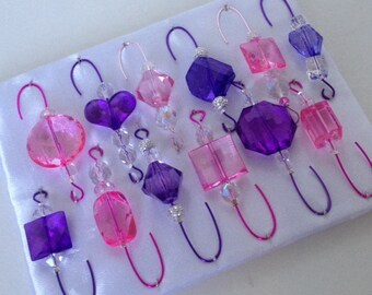 Purple and Pink Beaded Christmas Ornament Hanger Assortment - FREE SHIPPING
