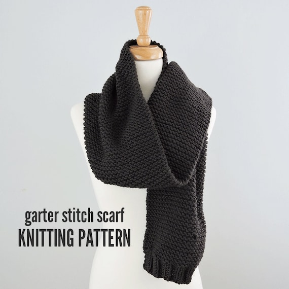 Garter Stitch Scarf Pattern Easy Scarf Pattern Knitted Scarf