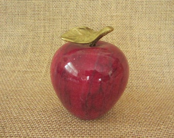 Red Apple Marble Paperweight Office Decor - On Sale!
