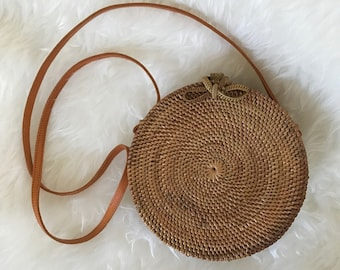Natural Handwoven Round Rattan Bag (woven bow closure)