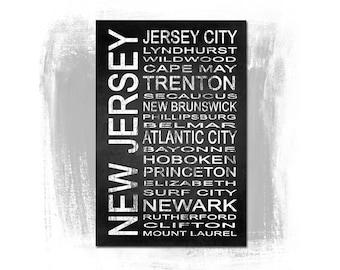 New Jersey State 1 Subway Sign Fine Art Print | Modern Chalkboard Typography
