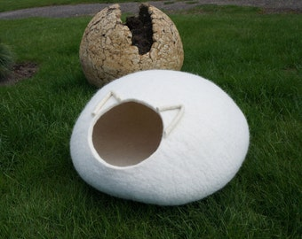 Cat cave 34 colors Cat furniture Felted white cat bed Cat house Cat felted cave Felt cat bed Pet supplies Wool cat bed
