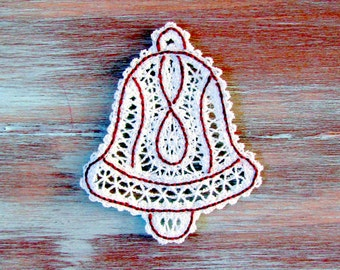 Lace Christmas Bell Ornament-Embroidered Christmas Bell Ornament-Christmas Tree Ornament