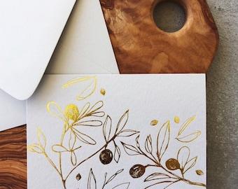 Gold Foil Pressed Olive Card