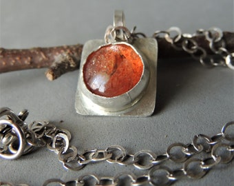 Sunstone Necklace, Silver Necklace, Bezel Gemstone, Sunstone Cabochon, Rustic Handcrafted, Urban Chic, Summer Jewelry, Orange Jewelry
