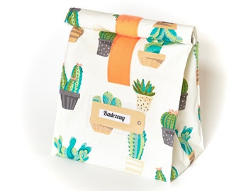 Lunchbag Large/bath bag/cactus/water repellent/coated cotton/hook and loop tape
