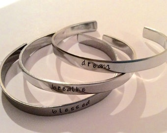 Inspirational stacking bracelets / personalized / handmade / stamped