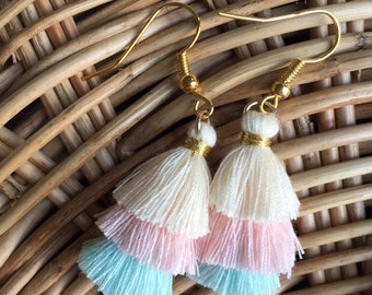 Three Layer Earring tassel pink blue and offwhite colours ,Tassel earring, boho style,Pastel colour