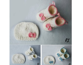 Romantic BOW baby GIFT SET preemie newborn baby booties shoes hat baby shower Christening baby girl warm boots socks beanie pregnancy reveal