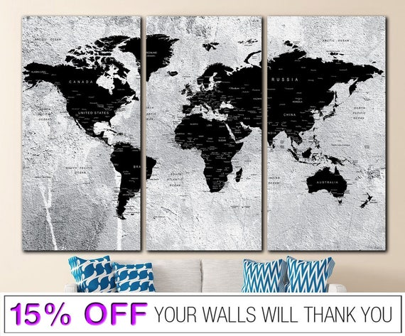 World map push pin word map canvas black white world map gumiabroncs Gallery