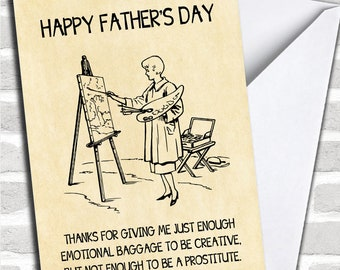 Funny Rude Emotional Baggage Joke Personalised Father's Day Card