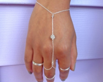 Silver Slave Bracelet, Silver Hand Chain, Crystal Ring Bracelet, Boho Hand Jewelry, Valentines Gift, Mothers Day Gift, Graduation Gift