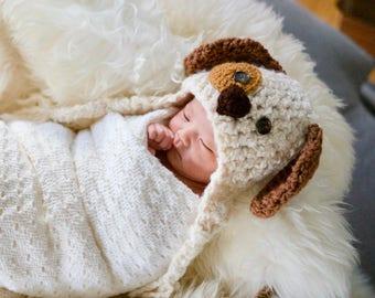 Baby Hat - Baby Puppy Hat - Dog Hat - Spotted Puppy Beanie - Crochet Dog Hat - Puppy Costume Hat - Shower Gift by JoJosBootique