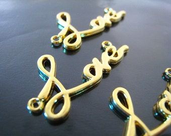 """Finding - 2 pcs Gold """" Love """" Word Shape Pendant Charm with Two Loops 30mm x 15mm"""
