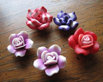 Polymer clay flower | beads | colorful | rose | large | violet | purple | red