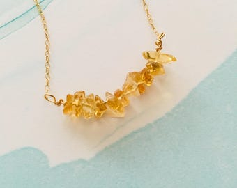 "16"" citrine layering necklace November birthstone necklace"