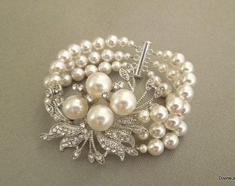 Pearl bracelet Bridal rhinestone Bracelet Statement Bracelet wedding bracelet bridal cuff vintage style swarovski pearl bridal jewelryJULIE