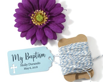 Blue Baptism Tags 20pc - My Baptism - Thank You Tags for Confirmation - Light Blue Catholic Favor Tags - Christian Party Favor Tags