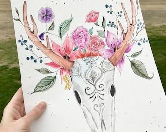 BOHO Watercolor Skull