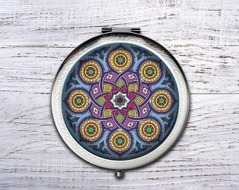 Mandala, Compact Mirror, Bridesmaid Gifts Cosmetic Mirror Personalized Gifts for Mom, Birthdays, Ladies, Girls, Women