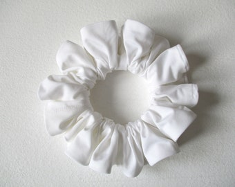 white jersey hair scrunchie, beach wedding accessory for women girl, handmade gift for her, yoga big scrunchy, 80s 90s disco party