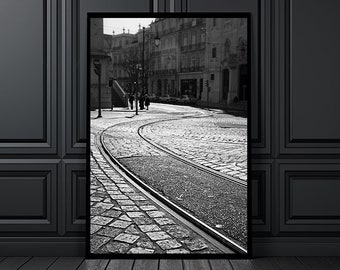 Rails cut a cobble stone road in the neighborhood of Alfama, in Lisbon, black and white print, wall art, home decor, Lisbon, Lisboa