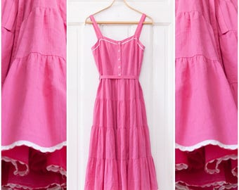 70s Pink Dress Tiered Prairie Dress Sleeveless Strappy Pink White Sundress Extra Small Summer Midi Dress Spaghetti Straps Flowing Day Dress