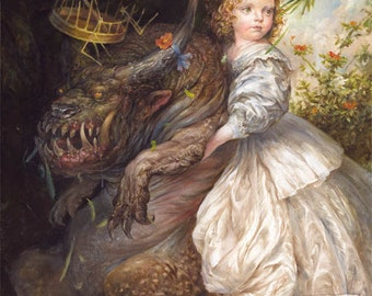 Allegory (print) - child little girl monster pet funny favorite beauty and the beast