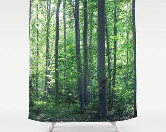 shower curtain, bathroom decor, modern shower curtain, photo curtain, woodland curtain, tree trees branches green curtain green decor