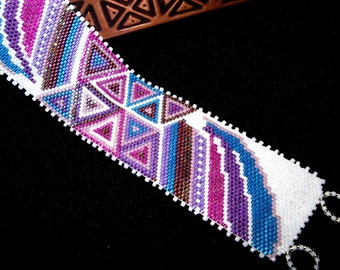 Purple, Turquoise & Pink Triangles Beadwoven Cuff Bracelet, Hand Made in the USA