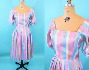 1980s party dress | pastel striped satin puff sleeve full skirt dress | vintage 80s dress | W 26""