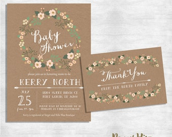 rustic baby shower invitation and thank you card set / shabby chic baby shower invite / floral baby shower invitation / printable or printed
