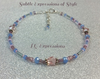 Ankle Bracelet Soft Pink and Blue Cruise jewelry LQ Expressions  Pink and Lovely Anklet