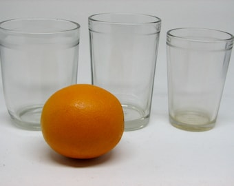 Collection of 3 Charming Vintage 1920s-1930s Clear Juice Glasses with Ridged Edges
