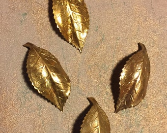 4 Pieces vintage brass stamped brass leaves, 10 sets
