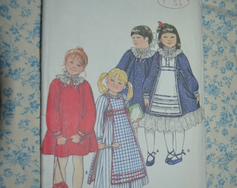 Butterick 4140 Childrens Dress and Tabard Sewing Pattern - UNCUT  - Size 4