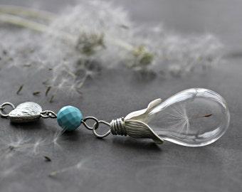 Dandelion Necklace, Wish Necklace, Real Dandelion Seed Necklace, Friendship Gift Birthstone Necklace Birthstone Charms Glass Bottle Necklace
