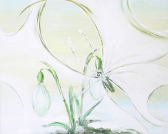 Snowdrop butterfly.   Original acrylic painting on canvas. Wall decor, ready to hang