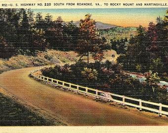 Roanoke, Virginia, Rocky Mount, Martinsville, Highway 220 - Vintage Postcard - Postcard - Unused (LL)