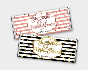 Printable Bridal Shower Favor, Customized Candy Bar Wrappers / Chocolate Labels - Black-White-Gold or Rose / DIY Print, Printable PDF - #GSR