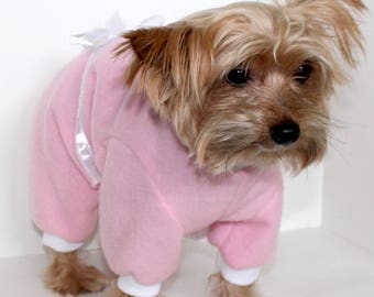 Pink Fleece Dog Pajamas, XS S M L - Pretty Pink Pjs Onesies for dogs, Pet Onesie Fashion Dog Clothes