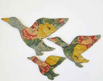 Three Retro Flying Ducks