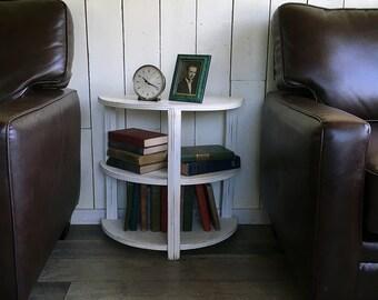 "Vintage Shabby Half-moon Shelf, End Table, Night Stand, ""Art Deco Style"""
