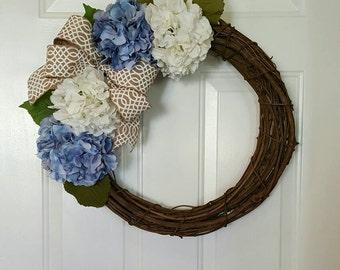 Hydrangea grapevine wreath, flower wreath