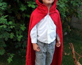 Red Crushed Velvet Childrens Cloak Little Red Riding Hood