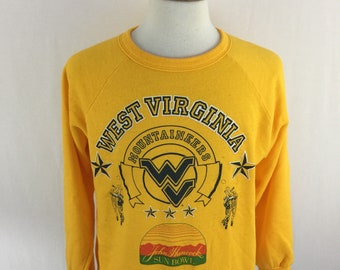 Vintage 80s West Virginia Mountaineers Sun Bowl Yellow Crew Neck Size Large Made in USA