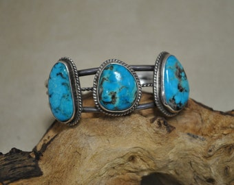 Sterling Silver Three Stone Turquoise Cuff Bracelet