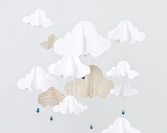 Rain Cloud Mobile with Book Paper