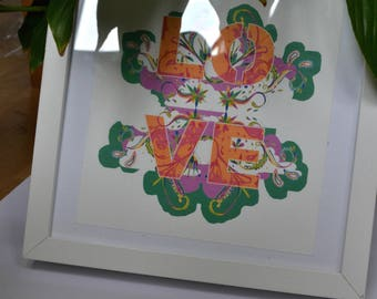 Green and Orange Bohemian Love Typography Print